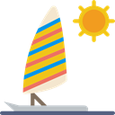 transport, sports, Summertime, Parasailing, sun Black icon