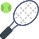 tennis, Sportive, Ball, racket, sports Black icon