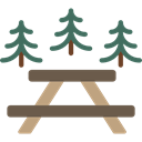 people, table, Camping, Picnic, Park, Bench, Rest Area Black icon