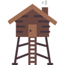 Cabin, rural, Lodge, buildings Black icon