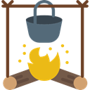 Bonfire, Camping, Burn, Flame, nature, campfire, hot Black icon