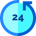 Clock, Wait, Tools And Utensils, counterclockwise, 24 Hours, Time Left, hour PaleTurquoise icon