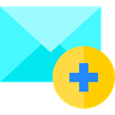 Multimedia, Add, envelope, Note, mail, Message, Email Turquoise icon