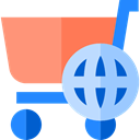 World Grid, Cart, Earth Grid, shopping cart, Shopping Store, international, commerce, online store, Supermarket LightSalmon icon