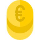 Cash, Currency, Bank, Business, commerce, Money, banking, Euro, coin Gold icon