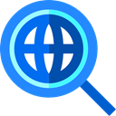 World Grid, search, magnifying glass, Loupe, Earth Grid, global DodgerBlue icon