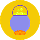 Bubbles, witch, pot, potion, scary Gold icon