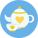 tea, Tools And Utensils, teapot, food, kitchen, Coffee CornflowerBlue icon