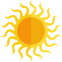 Sunny, sun, warm, summer, Summertime, weather, nature, meteorology Gold icon