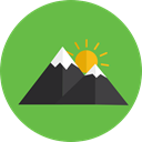 Snow, mountain, mountains, nature, Altitude, flag, landscape YellowGreen icon