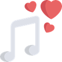 Hearts, song, music player, music, romantic, Quaver, musical note Black icon