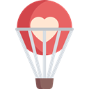 Flying, travel, transport, hot air balloon Black icon