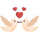 Animals, romantic, Love Birds, love, Heart Black icon
