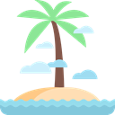 tropical, Palm Tree, nature, Desert, Island, Oasis Black icon