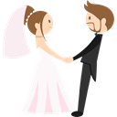 Bride, people, romantic, groom, Wedding Couple Black icon