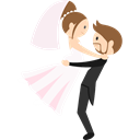 romantic, groom, Wedding Couple, Bride, people Black icon