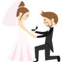 Bride, romantic, groom, Wedding Couple, people Black icon