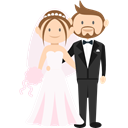 Bride, people, romantic, Wedding Couple, groom Black icon