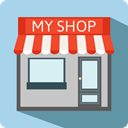 buildings, Coffee Shop, Business, store, commerce, Shop, Restaurant LightBlue icon