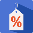 Discount, Label, percentage, tag, commerce RoyalBlue icon