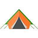 Tent, rural, woods, Forest, Camping, nature Black icon