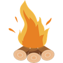 Flame, Burn, Bonfire, Camping, nature, hot, campfire Black icon