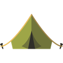 Tent, Camping, Forest, nature, woods, rural Black icon