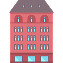 buildings, vacations, hotel, Hostel, Holidays LightCoral icon