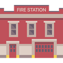 Firemen, truck, Fire Station, Building, buildings, firefighters, Emergencies IndianRed icon