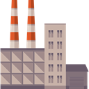 Factory, pollution, landscape, buildings, Industrial, industry, Contamination Silver icon