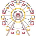 Amusement Park, buildings, fair, Ferris Wheel, Funfair, Business, Big Wheel Black icon