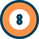 Ball, leisure, number, Billiard, sports Coral icon