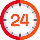 24 Hours, time, day, Logistics Delivery, Delivery, signs, commerce OrangeRed icon