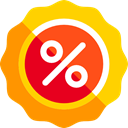 Badges, Discount, commerce, Badge, sticker, Design, star, signs, percentage Gold icon