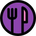 Cutlery, Restaurant, Fork, Tools And Utensils, Knife DarkOrchid icon