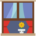 window, decoration, Curtains SaddleBrown icon