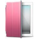 White, pink, ipad, Cover Black icon