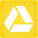 Box, drive, google, glowing, yellow Gold icon
