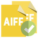 Aiff, Format, checkmark, File Goldenrod icon
