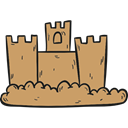 Toy, buildings, Sand Castle, medieval, Beach, childhood, Summertime DarkKhaki icon
