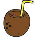 food, Alcoholic Drinks, leisure, drinking, straw, Coconut, cocktail, party, Alcohol SaddleBrown icon