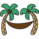 nature, vacations, tropical, Beach, Hammock, Palm Trees Black icon