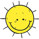 meteorology, Sunny, nature, Summertime, warm, summer, weather, sun Yellow icon