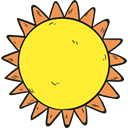 Sunny, sun, summer, Summertime, meteorology, nature, weather, warm Yellow icon