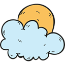 Sunny, meteorology, weather, Cloudy, sky, Cloud, Clouds And Sun Lavender icon