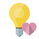 Heart, ligthbulb Black icon