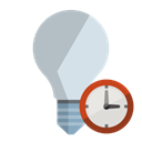 ligthbulb, off, Clock Black icon