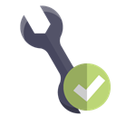 technical, Wrench, checkmark Black icon