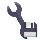 Wrench, technical, Diskette Black icon