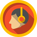 Avatar, head, interface, Auriculars, Headphones, music Gold icon